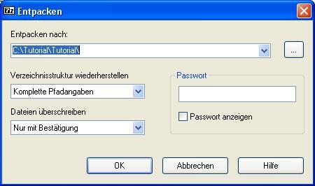Dateien mit dem 7-Zip Filemanager in ein Zip-Archiv komprimieren