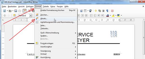 Din Brief Vorlage In Libreoffice Writer