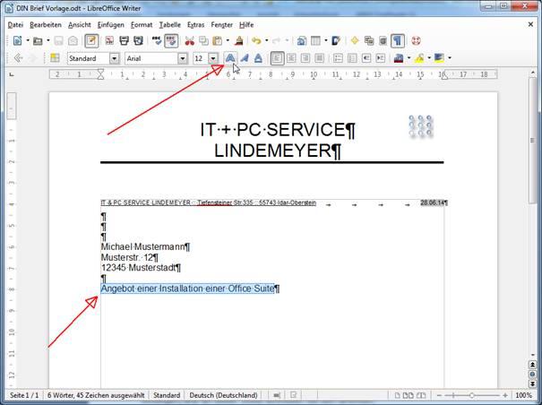 Din-Brief Vorlage In Libreoffice Writer